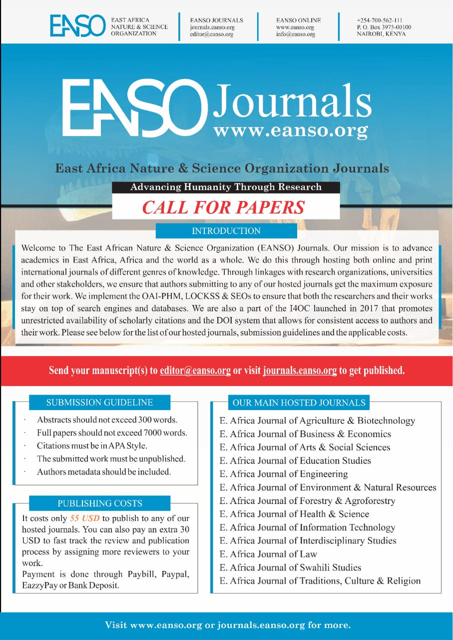 East African Nature & Science Organization (EANSO) Journals - Call for Academic Papers